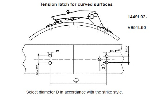 1449L Latch installation dimensions with V951L7 strike