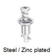 V27S02-*AGV - Cross recess flush head stud - steel/zinc plated