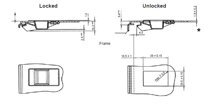 2939L Latch installation dimensions