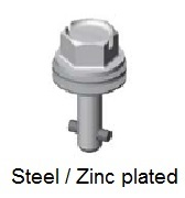 50E91-*AGV - Hex head slotted recess stud - steel/zinc plated