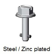 50E90-*AGV - Hex head slotted recess stud - steel/zinc plated