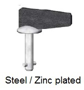50E21-*W0AGV - Offset fixed wing head stud - steel/zinc plated