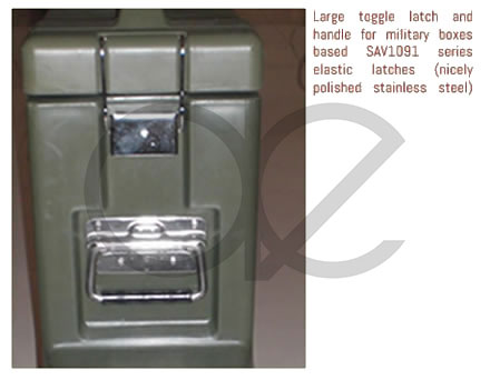 Large toggle latch and handle for military boxes based SAV1091 series  elastic latches (nicely polished stainless steel