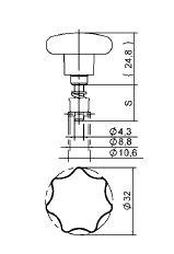 Camloc Quarter Turn - D40E22-3AGV - Plastic star form head (D4002