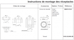 Instruction de montage réceptacles 99R10-01A1 et 99E10-01