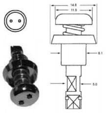 tamper proof double eye quarter turn fastener
