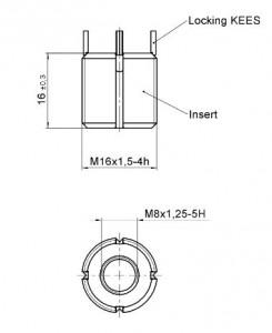 Extra heavy duty Keensert 1420-48-3 - internal thread M8x1.25 - external thread M16x1.5