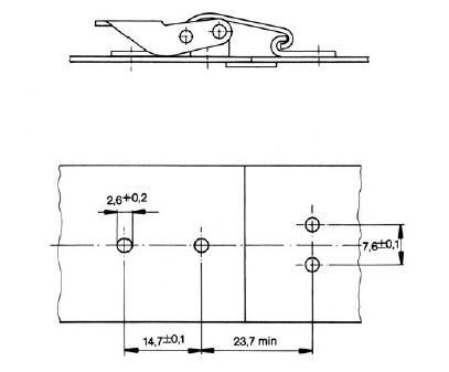 V934L Latch installation dimensions