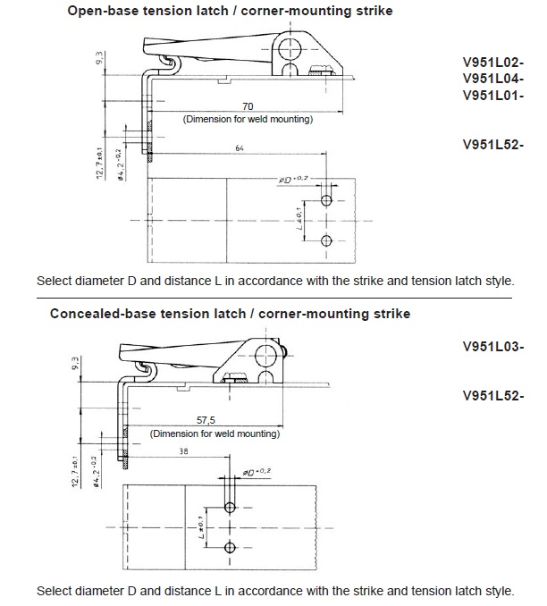 V951L Latch installation dimensions with V951L52 strike