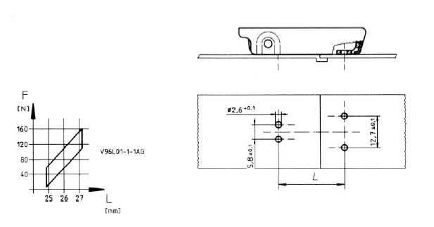 V96L Latch installation dimensions